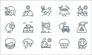 Climate change line icons. linear set. quality vector line set such as climate change, bull, medical mask, rain, thunderstorm, burning tree, co, deforestation, desert icon