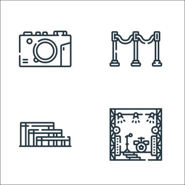 Music festival line icons. linear set. quality vector line set such as stage, grandstand, divider icon