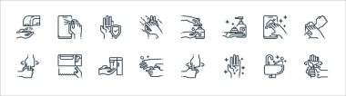 Wash hands icon pack line icons. linear set. quality vector line set such as washing hand, hand, washing hand, washing smartphone, smartphone icon