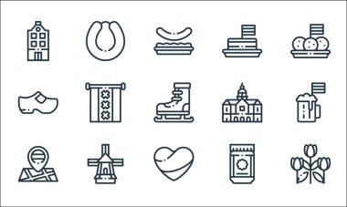 Holland line icons. linear set. quality vector line set such as tulips, holland, maps, speculoos, windmill, clogs, royal palace, tompouce, rookworst icon