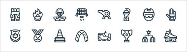 Hockey line icons. linear set. quality vector line set such as ice skate, prize, mouth guard, maple, helmet, ice hockey, whistle, puck icon