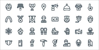 Hockey line icons. linear set. quality vector line set such as bag, coach, time out, jockstrap, ice resurfacer, ice hockey, hockey mask, icon
