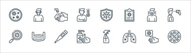 Coronavirus line icons. linear set. quality vector line set such as no virus, lungs, hand sanitizer, magnifying glass, cough, washing hands, prevention, medical mask icon