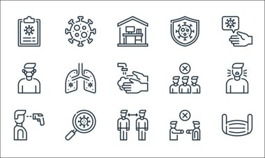 Coronavirus line icons. linear set. quality vector line set such as mask, distance, thermometer, no handshake, magnifying glass, medical mask, avoid crowds, prevention, virus icon