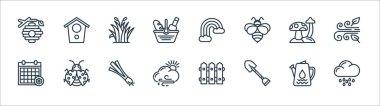 Spring line icons. linear set. quality vector line set such as rainy day, shovel, cloudy, season, mushroom, grass, rainbow, bird house icon