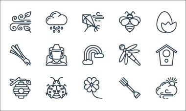 Spring line icons. linear set. quality vector line set such as cloudy, flowers, beehive, fork, bug, spring onion, dragon fly, bee, rainy day icon