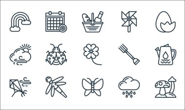 Spring line icons. linear set. quality vector line set such as mushroom, butterfly, kite, rainy day, dragon fly, cloudy, fork, wind mill, season icon