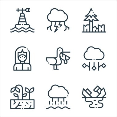 Climate change line icons. linear set. quality vector line set such as oil spill, rain, drought, hail, pelican, mask, deforestation, thunderstorm icon