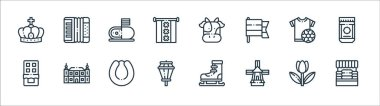 Holland line icons. linear set. quality vector line set such as cheese market, windmill, street lights, chocolate, tshirt, cheese, cow, accordion icon