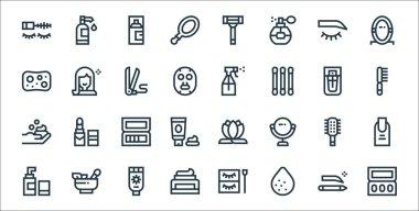 Beauty line icons. linear set. quality vector line set such as eyeshadow, sponge, face cream, moisturizer, hairbrush, eyeshadow, hairbrush, spray, beauty icon