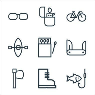 Camping line icons. linear set. quality vector line set such as fishing, boots, hatchet, blade, matches, kayak, bicycle, lighter icon