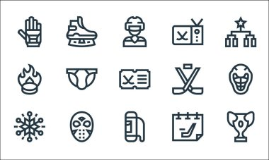 Hockey line icons. linear set. quality vector line set such as prize, bag, snowflakes, hockey, hockey mask, puck, sticks, sticks, ice skate icon