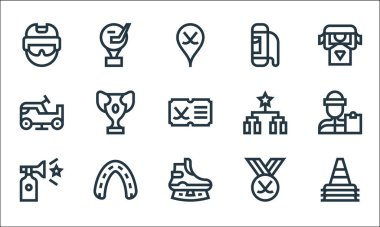 Hockey line icons. linear set. quality vector line set such as cone, ice skate, horn, hockey, mouth guard, ice resurfacer, schedule, bag, trophy icon