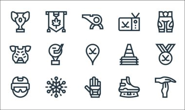 Hockey line icons. linear set. quality vector line set such as time out, ice hockey, helmet, ice skate, snowflakes, chest guard, cone, hockey sticks, mapple leaf icon