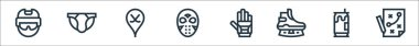 Hockey line icons. linear set. quality vector line set such as strategy, beer can, ice skate, ice hockey, hockey mask, jockstrap icon