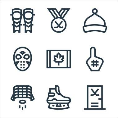 Hockey line icons. linear set. quality vector line set such as gym, ice skate, hockey goal, foam hand, canada, hockey mask, beanie, icon