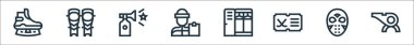 Hockey line icons. linear set. quality vector line set such as whistle, hockey mask, hockey, lockers, coach, horn, shin icon