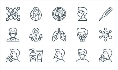 Virus transmission line icons. linear set. quality vector line set such as sneeze, cough, vomit, medical mask, alcohol gel, doctor, oxygen mask, medical mask, global icon