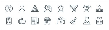 Job promotion line icons. linear set. quality vector line set such as gift, champagne, target, task, trophy, recruitment, strategy, stamp icon