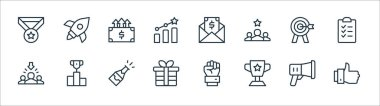 Job promotion line icons. linear set. quality vector line set such as thumbs up, trophy, gift, recruitment, target, increase, salary, rocket icon