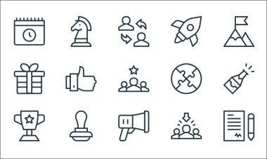 Job promotion line icons. linear set. quality vector line set such as contract, megaphone, trophy, recruitment, stamp, gift, puzzle, rocket, strategy icon