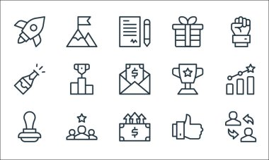 Job promotion line icons. linear set. quality vector line set such as employee, increase, stamp, thumbs up, best employee, champagne, trophy, gift, peak icon