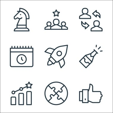 Job promotion line icons. linear set. quality vector line set such as thumbs up, puzzle, growth, champagne, rocket, calendar, employee, best employee icon