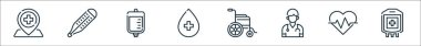 Medical line icons. linear set. quality vector line set such as blood bag, heartbeat, doctor, wheelchair, blood, iv bag, thermometer icon