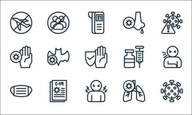 Flat covid line icons. linear set. quality vector line set such as coronavirus, fever, facial mask, lungs, coronavirus, medicine, runny nose, no group icon