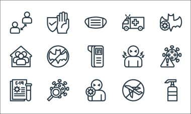 Flat covid line icons. linear set. quality vector line set such as hand sanitizer, sickness, blood test, no flight, virus search, stay at home, fever, ambulance, protection icon