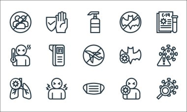 Flat covid line icons. linear set. quality vector line set such as virus search, facial mask, lungs, sickness, fever, fever, bat, bat, protection icon