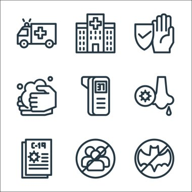 Flat covid line icons. linear set. quality vector line set such as bat, no group, coronavirus, runny nose, thermometer, washing hands, protection, hospital icon