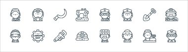 Labour day line icons. linear set. quality vector line set such as pilot, maid, helmet, builder, shovel, sickle, police, doctor icon