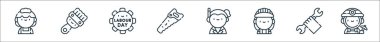 Labour day line icons. linear set. quality vector line set such as miner, wrench, worker, executive, saw, labor day, paint brush icon
