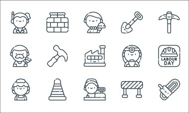 Labour day line icons. linear set. quality vector line set such as chainsaw, cashier, maid, barrier, cone, plumber, doctor, shovel, brick wall icon