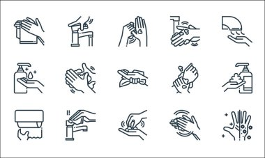 Wash hands line icons. linear set. quality vector line set such as hand, washing hand, tissue, washing hand, washing hands, water tap icon