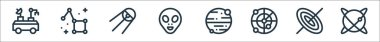 Space line icons. linear set. quality vector line set such as planet, black hole, radar, mars, alien, sputnik, constellation icon