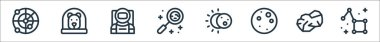 Space line icons. linear set. quality vector line set such as constellation, asteroid, full moon, eclipse, research, astronaut, dog icon