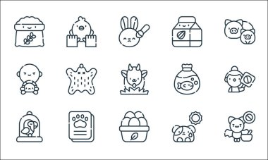 Animal welfare line icons. linear set. quality vector line set such as bat, organic eggs, bird cage, dog, vaccination, wildlife, animal trafficking, almond milk, animal care icon