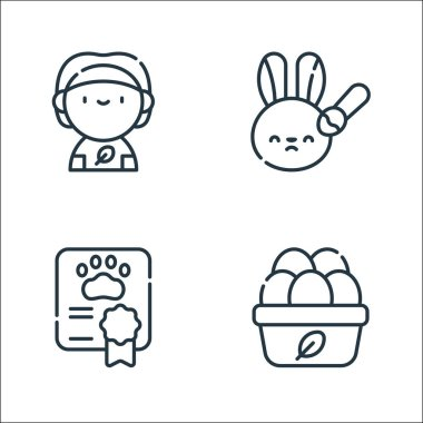 Animal welfare line icons. linear set. quality vector line set such as organic eggs, certificate, animal testing icon
