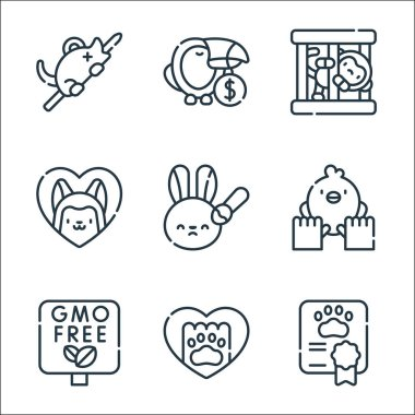 Animal welfare line icons. linear set. quality vector line set such as certificate, paw, gmo, animal care, animal testing, pets, monkey, wildlife icon