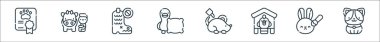 Animal welfare line icons. linear set. quality vector line set such as dog, animal testing, chicken, mice, pillow, boots, cow icon