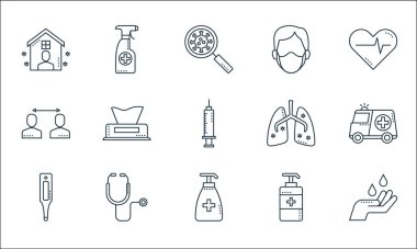 Covid line icons. linear set. quality vector line set such as hand, soap, thermometer, soap, stethoscope, contact, lungs, man, alcohol icon