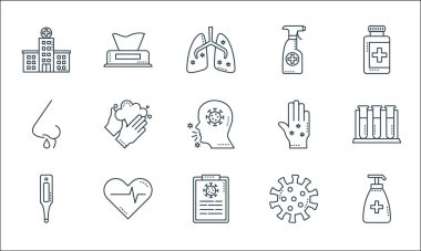 Covid line icons. linear set. quality vector line set such as soap, diagnostic, thermometer, coronavirus, heartbeat, runny nose, hand, alcohol, wet wipes icon