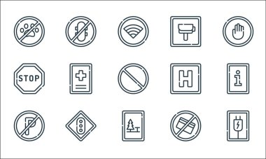 Signals and prohibitions line icons. linear set. quality vector line set such as plug, camping, no parking, no cit card, traffic light, stop, hotel, radar, no skating icon