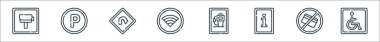 Signals and prohibitions line icons. linear set. quality vector line set such as disabled, no cit card, information, petrol station, wifi, turn back, parking icon