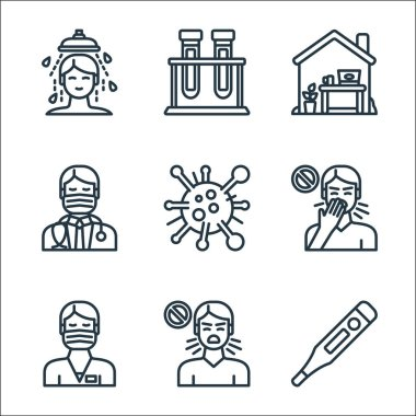 Virus transmission line icons. linear set. quality vector line set such as thermometer, cough, male nurse, cough, virus, doctor, home, lab icon