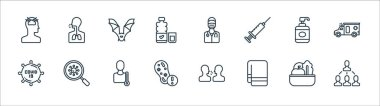 Covid line icons. linear set. quality vector line set such as infection, towel, coronavirus, covid, hand soap, bat, doctor, cough icon