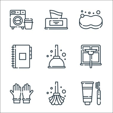 Hygiene routine line icons. linear set. quality vector line set such as tooth hygiene, mop, rubber gloves, window cleaning, plunger, appointment book, sponge, tissue box icon