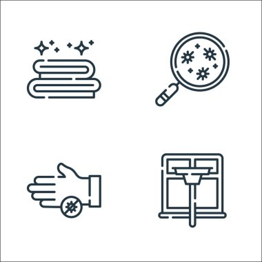 Hygiene routine line icons. linear set. quality vector line set such as window cleaning, bacteria, bacteria icon